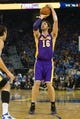 Oct 30, 2013; Oakland, CA, USA; Los Angeles Lakers power forward Pau Gasol (16) shoots the ball against the Golden State Warriors during the first quarter at Oracle Arena. Mandatory Credit: Kelley L Cox-USA TODAY Sports