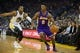 Oct 30, 2013; Oakland, CA, USA; Los Angeles Lakers shooting guard Nick Young (0) drives in ahead of Golden State Warriors shooting guard Andre Iguodala (9) during the second quarter at Oracle Arena. Mandatory Credit: Kelley L Cox-USA TODAY Sports