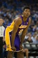 Oct 30, 2013; Oakland, CA, USA; Los Angeles Lakers shooting guard Nick Young (0) between plays against the Golden State Warriors during the third quarter at Oracle Arena. The Golden State Warriors defeated the Los Angeles Lakers 125-94. Mandatory Credit: Kelley L Cox-USA TODAY Sports