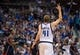 Oct 30, 2013; Dallas, TX, USA; Dallas Mavericks power forward Dirk Nowitzki (41) celebrates a three point shot against the Atlanta Hawks during the game at American Airlines Center. The Mavericks defeated the Hawks 118-109. Mandatory Credit: Jerome Miron-USA TODAY Sports
