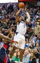 Oct 30, 2013; Dallas, TX, USA; Dallas Mavericks shooting guard Vince Carter (25) shoots the ball against the Atlanta Hawks during the game at American Airlines Center. The Mavericks defeated the Hawks 118-109. Mandatory Credit: Jerome Miron-USA TODAY Sports