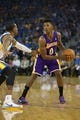 Oct 30, 2013; Oakland, CA, USA; Los Angeles Lakers shooting guard Nick Young (0) controls the ball against the Golden State Warriors during the first quarter at Oracle Arena. Mandatory Credit: Kelley L Cox-USA TODAY Sports
