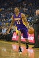 Oct 30, 2013; Oakland, CA, USA; Los Angeles Lakers shooting guard Wesley Johnson (11) controls the ball against the Golden State Warriors during the first quarter at Oracle Arena. Mandatory Credit: Kelley L Cox-USA TODAY Sports