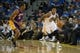 Oct 30, 2013; Oakland, CA, USA; Golden State Warriors shooting guard Kent Bazemore (20) brings the ball down the court against the Los Angeles Lakers during the fourth quarter at Oracle Arena. The Golden State Warriors defeated the Los Angeles Lakers 125-94. Mandatory Credit: Kelley L Cox-USA TODAY Sports