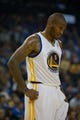 Oct 30, 2013; Oakland, CA, USA; Golden State Warriors power forward Marreese Speights (5) between plays against the Los Angeles Lakers during the second quarter at Oracle Arena. Mandatory Credit: Kelley L Cox-USA TODAY Sports