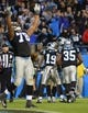 Nov 18, 2013; Charlotte, NC, USA; Carolina Panthers guard Nate Chandler (78) reacts in the foreground while wide receivers Ted Ginn (19) and Steve Smith (89) and Brandon LaFell (11) and fullback Mike Tolbert (35) celebrate after Ginn's game winning touchdown in the fourth quarter. The Panthers defeated the Patriots 24-20 at Bank of America Stadium. Mandatory Credit: Bob Donnan-USA TODAY Sports