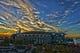 Nov 18, 2013; Charlotte, NC, USA; An overall view of sunset over Bank of America Stadium. Editors note; This image was manipulated using photoshop filters. Mandatory Credit: Bob Donnan-USA TODAY Sports
