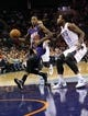 Nov 22, 2013; Charlotte, NC, USA; Phoenix Suns guard Archie Goodwin (20) drives into the paint as he is defended by Charlotte Bobcats forward Michael Kidd-Gilchrist (14) during the first half in the game at Time Warner Cable Arena. Mandatory Credit: Sam Sharpe-USA TODAY Sports