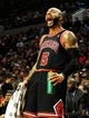 Nov 22, 2013; Portland, OR, USA; Chicago Bulls power forward Carlos Boozer (5) reacts to a play during the first quarter of the game against the Portland Trail Blazers at the Moda Center. Mandatory Credit: Steve Dykes-USA TODAY Sports
