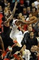 Nov 22, 2013; Portland, OR, USA; Portland Trail Blazers shooting guard Wesley Matthews (2) drives to the basket on Chicago Bulls small forward Luol Deng (9) during the fourth quarter of the game at the Moda Center. The Blazers won the game 98-95. Mandatory Credit: Steve Dykes-USA TODAY Sports