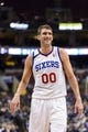Nov 20, 2013; Philadelphia, PA, USA; Philadelphia 76ers center Spencer Hawes (00) during the third quarter against the Toronto Raptors at Wells Fargo Center. The Raptors defeated the Sixers 108-98. Mandatory Credit: Howard Smith-USA TODAY Sports