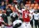 Nov 23, 2013; Houston, TX, USA; Houston Cougars quarterback John O'Korn (5) attempts a pass during the second quarter against the Cincinnati Bearcats at BBVA Compass Stadium. Mandatory Credit: Troy Taormina-USA TODAY Sports