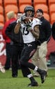 Nov 23, 2013; Houston, TX, USA; Cincinnati Bearcats wide receiver Chris Moore (15) makes a catch during the second quarter and scores a touchdown against the Houston Cougars at BBVA Compass Stadium. Mandatory Credit: Troy Taormina-USA TODAY Sports