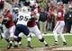 Nov 23, 2013; Tuscaloosa, AL, USA; Alabama Crimson Tide quarterback A.J. McCarron (10) looks to pass against the Chattanooga Mocs during the first quarter at Bryant-Denny Stadium. Mandatory Credit: John David Mercer-USA TODAY Sports