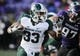 Nov 23, 2013; Evanston, IL, USA; Michigan State Spartans running back Jeremy Langford (33) rushes the ball during the second half against the Northwestern Wildcats at Ryan Field. Michigan State won 30-6. Mandatory Credit: Reid Compton-USA TODAY Sports