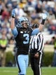 Nov 23, 2013; Chapel Hill, NC, USA; North Carolina Tar Heels receiver Ryan Switzer (3) gestures to the crowd during the second half  against the Old Dominion Monarchs at Kenan Memorial Stadium. The Tar Heels won 80-20.  Mandatory Credit: Rob Kinnan-USA TODAY Sports
