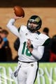 Nov 23, 2013; Logan, UT, USA; Colorado State Rams quarterback Garrett Grayson (18) passes the ball during the first quarter against the Utah State Aggies at Romney Stadium. Mandatory Credit: Chris Nicoll-USA TODAY Sports