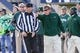 Nov 23, 2013; Logan, UT, USA; Colorado State Rams head coach Jim McElwain disputes a pass interference call with line judge John Kilmer during the first quarter against the Utah State Aggies at Romney Stadium. Mandatory Credit: Chris Nicoll-USA TODAY Sports