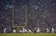 Nov 23, 2013; South Bend, IN, USA; The Notre Dame Fighting Irish line up at the line of scrimmage against the BYU Cougars as snow falls  in the second quarter at Notre Dame Stadium. Mandatory Credit: Matt Cashore-USA TODAY Sports