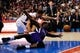 Nov 23, 2013; Los Angeles, CA, USA; Los Angeles Clippers forward Blake Griffin (32) and Sacramento Kings forward Patrick Patterson (9) dive for the loose ball during the fourth quarter at Staples Center. The Los Angeles Clippers defeated the Sacramento Kings 103-102. Mandatory Credit: Kelvin Kuo-USA TODAY Sports