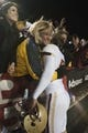 Nov 23, 2013; College Park, MD, USA;  Boston College Eagles kicker Nate Freese (85) is congratulated by his mother Carla after he kicked a game-winning field goal as time expired at Byrd Stadium. Boston College Eagles defeated Maryland Terrapins 29-26. Mandatory Credit: Tommy Gilligan-USA TODAY Sports