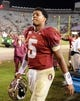 Nov 23, 2013; Tallahassee, FL, USA; Florida State Seminoles quarterback Jameis Winston (5) after the game against the Idaho Vandals at Doak Campbell Stadium. Mandatory Credit: Melina Vastola-USA TODAY Sports