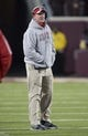 Nov 23, 2013; Minneapolis, MN, USA; Wisconsin Badgers head coach Gary Anderson looks on during the second half against the Minnesota Golden Gophers at TCF Bank Stadium. The Badgers won 20-7. Mandatory Credit: Jesse Johnson-USA TODAY Sports