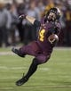 Nov 23, 2013; Minneapolis, MN, USA; Minnesota Golden Gophers wide receiver Isaac Fruechte (14) attempts to catch a pass in the fourth quarter against the Wisconsin Badgers  at TCF Bank Stadium. The Badgers won 20-7. Mandatory Credit: Jesse Johnson-USA TODAY Sports