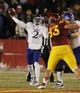 Nov 23, 2013; Ames, IA, USA; Kansas Jayhawks quarterback Montell Cozart (2) throws against the Iowa State Cyclones in the first quarter at Jack Trice Stadium. Mandatory Credit: Bruce Thorson-USA TODAY Sports