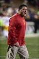 Nov 23, 2013; Boulder, CO, USA; Southern California Trojans interim head coach Ed Orgeron calls out before the game against the Colorado Buffaloes at Folsom Field. Mandatory Credit: Ron Chenoy-USA TODAY Sports