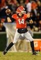 Nov 23, 2013; Athens, GA, USA; Georgia Bulldogs quarterback Hutson Mason (14) throws a pass in the second half against the Kentucky Wildcats at Sanford Stadium. The Georgia Bulldogs won 59-17. Mandatory Credit: Daniel Shirey-USA TODAY Sports