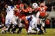 Nov 23, 2013; Athens, GA, USA; Georgia Bulldogs linebacker Ramik Wilson (51) causes a fumble by Kentucky Wildcats running back Raymond Sanders (4) during the second half at Sanford Stadium. Georgia defeated Kentucky 59-17. Mandatory Credit: Dale Zanine-USA TODAY Sports