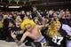 Nov 23, 2013; Knoxville, TN, USA; Vanderbilt Commodores fans celebrate after winning the game against the Tennessee Volunteers at Neyland Stadium. Vanderbilt won 14 to 10. Mandatory Credit: Randy Sartin-USA TODAY Sports