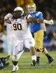 Nov 23, 2013; Pasadena, CA, USA;      Arizona State Sun Devils defensive tackle Will Sutton (90) pumps his fist after he sacked UCLA Bruins quarterback Brett Hundley (17) for an 8-yard loss in the second half of the game at the Rose Bowl. Arizona State Sun Devils won 38-33. Mandatory Credit: Jayne Kamin-Oncea-USA TODAY Sports