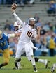 Nov 23, 2013; Pasadena, CA, USA;      Arizona State Sun Devils quarterback Taylor Kelly (10) throws a pass in the first half against the UCLA Bruins at the Rose Bowl. Arizona State Sun Devils won 38-33. Mandatory Credit: Jayne Kamin-Oncea-USA TODAY Sports