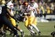 Nov 23, 2013; Boulder, CO, USA; Southern California Trojans running back Javorius Allen (37) runs for a touchdown in the second quarter against the Colorado Buffaloes at Folsom Field. Mandatory Credit: Ron Chenoy-USA TODAY Sports