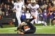 Nov 23, 2013; Corvallis, OR, USA; Washington Huskies running back Bishop Sankey (25) runs into the end zone over Oregon State Beavers safety Ryan Murphy (25) for a touchdown in the second half at Reser Stadium. Mandatory Credit: Jaime Valdez-USA TODAY Sports