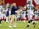 Oct 17, 2013; Phoenix, AZ, USA; Seattle Seahawks head coach Pete Carroll and offensive tackle Alvin Bailey against the Arizona Cardinals at University of Phoenix Stadium. Mandatory Credit: Mark J. Rebilas-USA TODAY Sports
