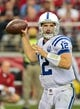 Nov 24, 2013; Phoenix, AZ, USA; Indianapolis Colts quarterback Andrew Luck (12) throws during the first half against the Arizona Cardinals at University of Phoenix Stadium. Mandatory Credit: Matt Kartozian-USA TODAY Sports