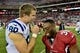 Nov 24, 2013; Phoenix, AZ, USA; Former Stanford Cardinal teammates Indianapolis Colts tight end Coby Fleener (80) and Arizona Cardinals running back Stepfan Taylor (30) talk after the game at University of Phoenix Stadium. Mandatory Credit: Matt Kartozian-USA TODAY Sports