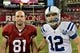 Nov 24, 2013; Phoenix, AZ, USA; Former Stanford Cardinal teammates Arizona Cardinals tight end Jim Dray (81) and Indianapolis Colts quarterback Andrew Luck (12) pose for a photo after the game at University of Phoenix Stadium. Mandatory Credit: Matt Kartozian-USA TODAY Sports
