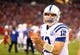 Nov 24, 2013; Phoenix, AZ, USA; Indianapolis Colts quarterback Andrew Luck in the second half against the Arizona Cardinals at University of Phoenix Stadium. The Cardinals defeated the Colts 40-11. Mandatory Credit: Mark J. Rebilas-USA TODAY Sports