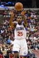 Nov 22, 2013; Philadelphia, PA, USA; Philadelphia 76ers guard Elliot Williams (25) passes the ball during the fourth quarter against the Milwaukee Bucks at Wells Fargo Center. The Sixers defeated the Bucks 115-107 in overtime. Mandatory Credit: Howard Smith-USA TODAY Sports