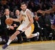 Nov 24, 2013; Los Angeles, CA, USA;  Los Angeles Lakers point guard Jordan Farmar (1) during the game against the Sacramento Kings at Staples Center. Lakers won 100-86. Mandatory Credit: Jayne Kamin-Oncea-USA TODAY Sports