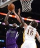 Nov 24, 2013; Los Angeles, CA, USA;  Los Angeles Lakers center Pau Gasol (16) guards Sacramento Kings center DeMarcus Cousins (15) during the second half of the game at Staples Center. Lakers won 100-86. Mandatory Credit: Jayne Kamin-Oncea-USA TODAY Sports