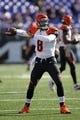Nov 10, 2013; Baltimore, MD, USA;  Cincinnati Bengals quarterback Josh Johnson (8) warms up prior to the game against the Baltimore Ravens at M&T Bank Stadium. Mandatory Credit: Mitch Stringer-USA TODAY Sports