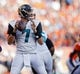 Oct 13, 2013; Denver, CO, USA; Jacksonville Jaguars quarterback Chad Henne (7) during the game against the Denver Broncos at Sports Authority Field at Mile High. Mandatory Credit: Chris Humphreys-USA TODAY Sports