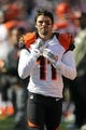 Nov 10, 2013; Baltimore, MD, USA;  Cincinnati Bengals wide receiver Dane Sanzenbacher (11) watches from the sidelines prior to the game against the Baltimore Ravens at M&T Bank Stadium. Mandatory Credit: Mitch Stringer-USA TODAY Sports