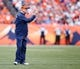 Oct 13, 2013; Denver, CO, USA; Denver Broncos head coach John Fox during the game against the Jacksonville Jaguars at Sports Authority Field at Mile High. Mandatory Credit: Chris Humphreys-USA TODAY Sports