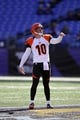 Nov 10, 2013; Baltimore, MD, USA;  Cincinnati Bengals punter Kevin Huber (10) warms up prior to the game against the Baltimore Ravens at M&T Bank Stadium. Mandatory Credit: Mitch Stringer-USA TODAY Sports